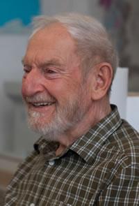 Arne Isacsson i ateljén 2008